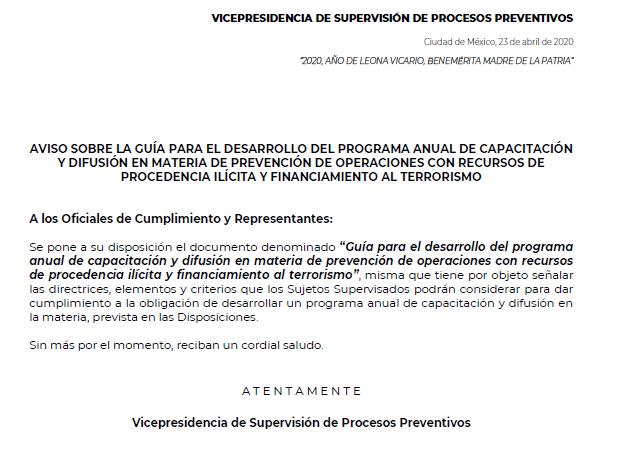 Guía para el Desarrollo del Programa Anual de Capacitación y Difusión en Materia de Prevención de Operaciones con Recursos de Procedencia Ilícita y Financiamiento al Terrorismo