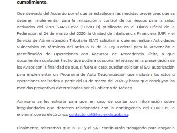 LA UNIDAD DE INTELIGENCIA FINANCIERA Y EL SERVICIO DE ADMINISTRACIÓN TRIBUTARIA APLICAN MEDIDAS PARA LA MITIGACIÓN Y CONTROL DE LOS RIESGOS DE SALUD DERIVADOS DE LA CONTINGENCIA SANITARIA POR EL VIRUS SARS-CoV2 (COVID-19)