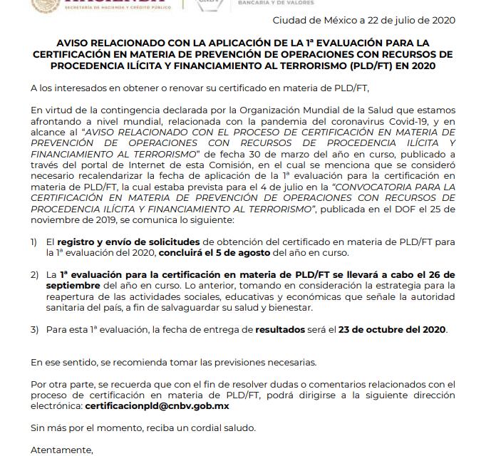 Primer Examen Certificación PLD de la CNBV